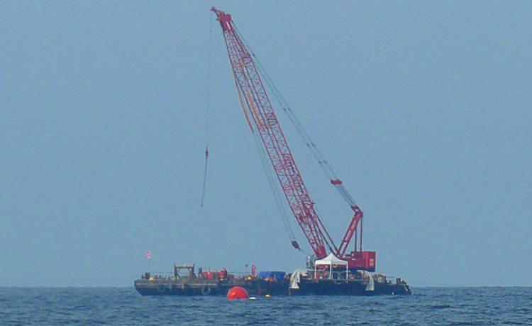 tente pliante V2 sur un chantier en pleine mer réalisé par PSM
