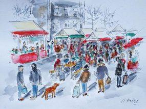 Illustration du marché Rivotte en aquarelle par Olga Stehly