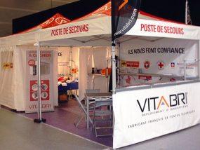 Tentes pliantes V3 avec Nomad Shop au salon Secours Expo