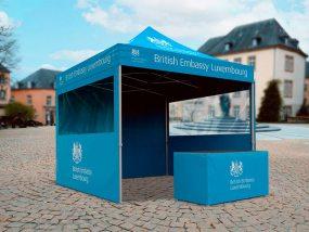 Tente pliante V3 PRO de l'ambassade britannique au Luxembourg