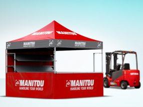 Tente pliante V3 PRO 2x2m avec option Nomadshop comptoirs et étagères pour Manitou