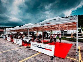 tentes paddocks de la 208 Rally Cup au rallye des Vosges Grand Est