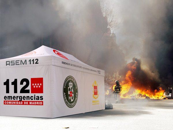 tente pliante V3 PRO pour l'agence de sécurité et d'urgence de Madrid