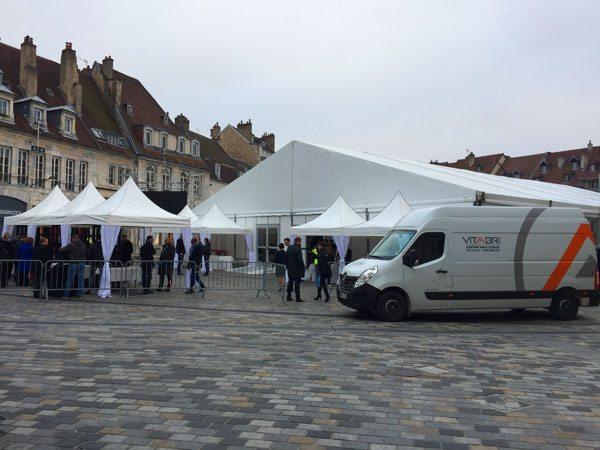 tentes pliantes V3 garden pour l'inauguration du Musée des Beaux-Arts et d'Archéologie de Besançon