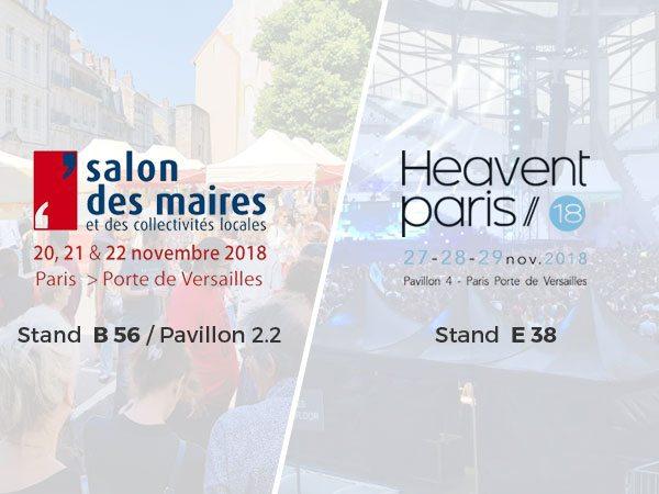 Retrouvez-nous au salon des maires et des collectivités locales du 20 au 22 novembre et à Heavent du 27 au 29 novembre