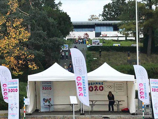 tentes pliantes V3 garden lors de la semaine spéciale Jeux Olympiques de la Jeunesse Lausanne 2020